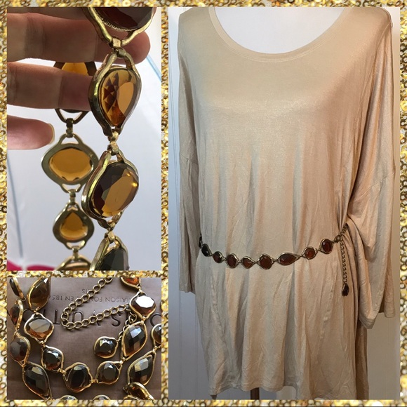 Vintage Accessories - Vintage Amber Glass Stone Chain Belt